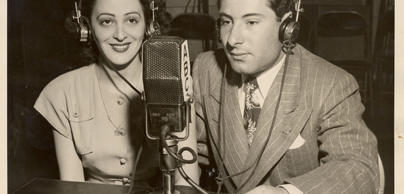 Jean Weil in ABC studio making international phone call (Jewish Women's Archive Commons – https://flic.kr/p/6ce64P)